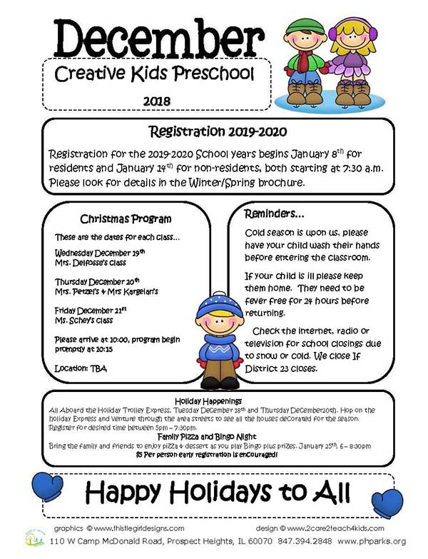 CLICK FOR MORE - Preschool December 2018 Newsletter