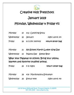 January preschool calendar MWF 4s 2019