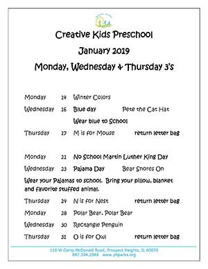 January preschool calendar MWTh 3s 2019