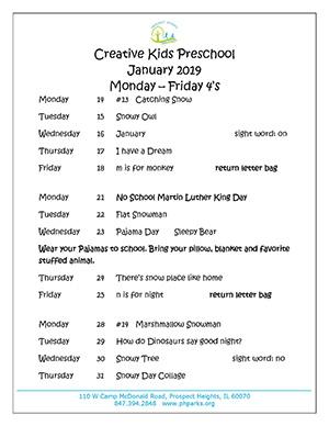 January preschool calendar M_F 4s 2019