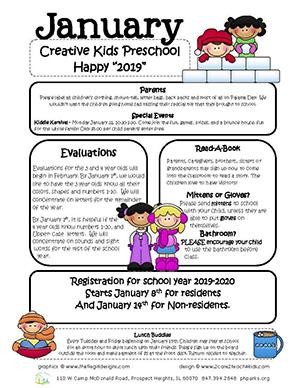 Preschool January 2019 Newsletter