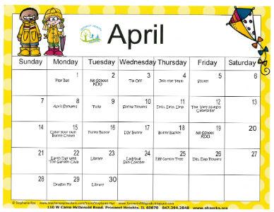 April KinderStop Calendar
