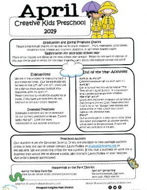 CLICK FOR MORE - April 2019 Preschool Newsletter