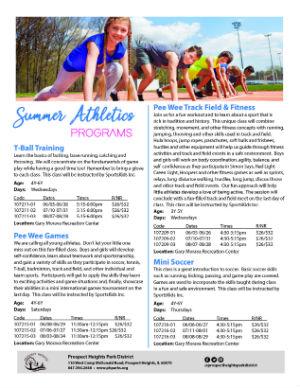 Summer Athletics Programs 2019