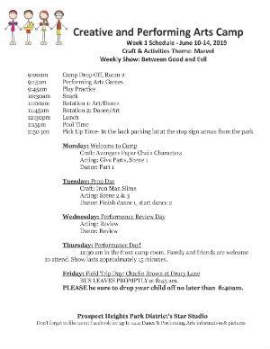 Creative and Perdforming Arts Camp Schedule 2019 - Week 1