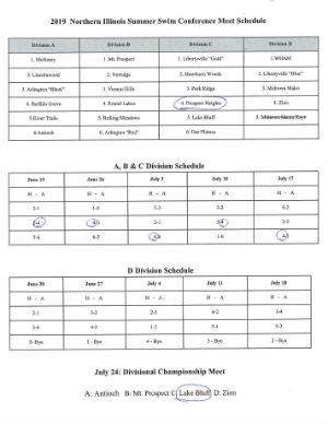 Typhoon Swim Team 2019 Conference Meet Schedule