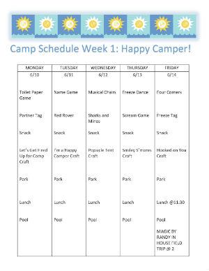 Explorers Camp Schedule 2019 - Week 1