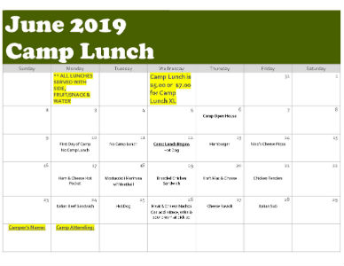 Camp Lunch - June 2019