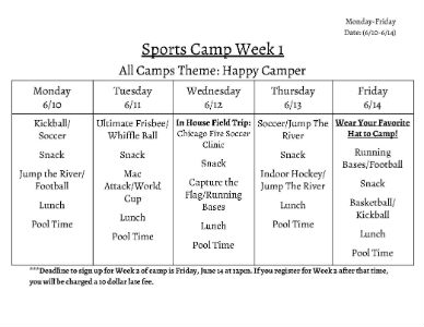 Sports Camp Schedule 2019 - Week 1