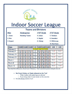 2020 Indoor Soccer League Game Schedule updated 02.2020
