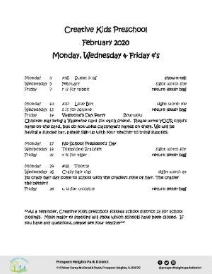 February 2020 Preschool Calendar MWF 4s