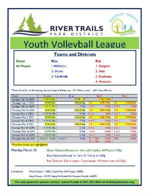 Youth Volleyball League Schedule